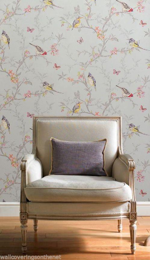 Shabby+Chic+Birds+&+Butterflies+Wallpaper+by+Holden+Decor,+Teal+Background+