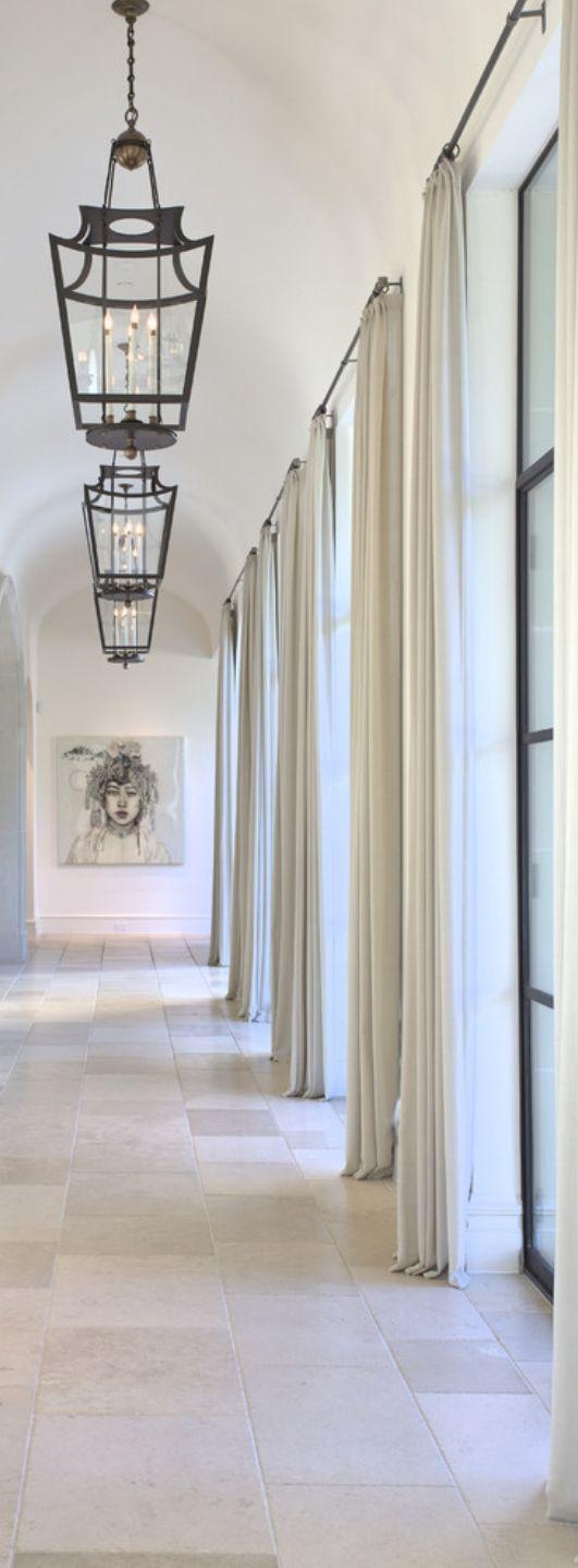 mediterranean hallway iron pendants iron windows curtains