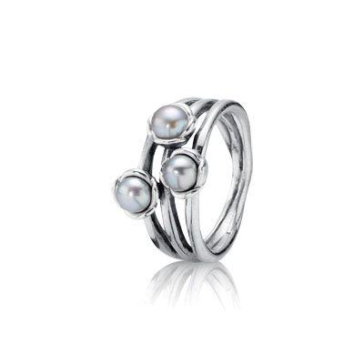 Triple Grey Pearl Ring