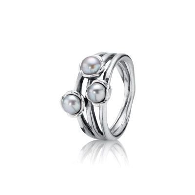 Triple Grey Pearl Ring