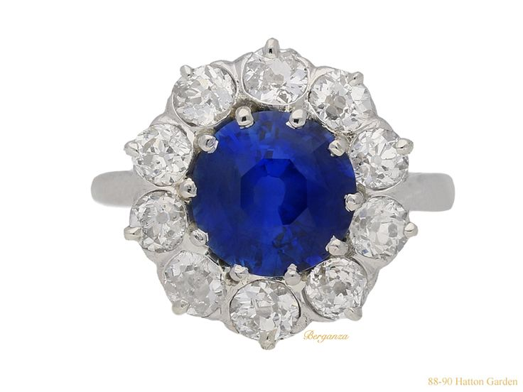 Burmese sapphire and diamond coronet cluster ring, French, circa 1910.