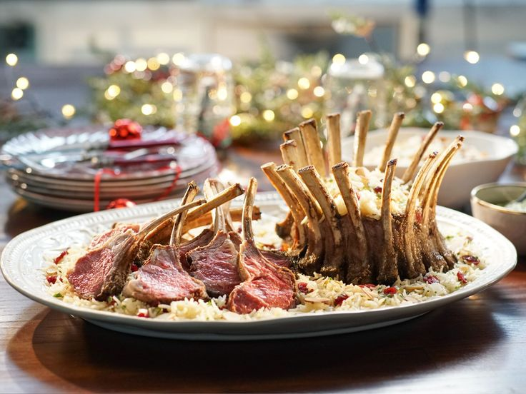 Crown Roast of Lamb with Mint and Green Onion Pesto recipe from Valerie Bertinelli via Food Network