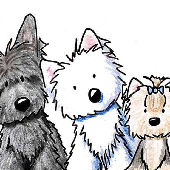 © KiniArt™ - ALL Rights Reserved. Original Art Westie Scottie Yorkie Wheaten Terrier Dogs by KiniArt, $55.00