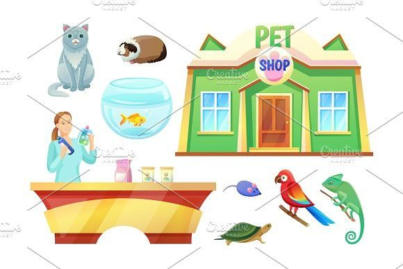 Pet Shop Animals And Girl At Check Out Counter With Images Pet