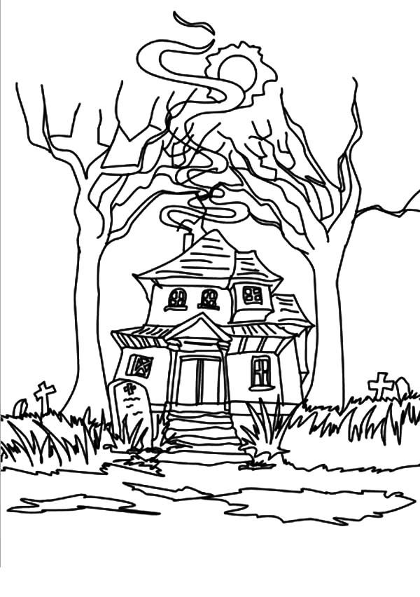 strange haunted house coloring pages  coloring sun in