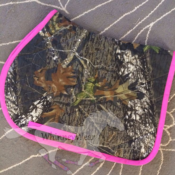 Pink/Brown camouflage English saddle pad by  WhinneyWear  www.whinneywear.com