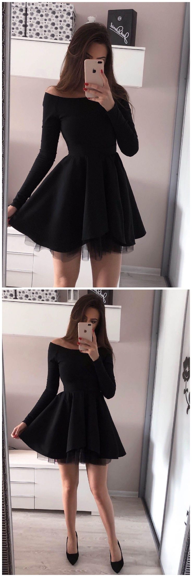 Black Off Shoulder Mini Satin Homecoming Dress with Long Sleeves(ED2540)