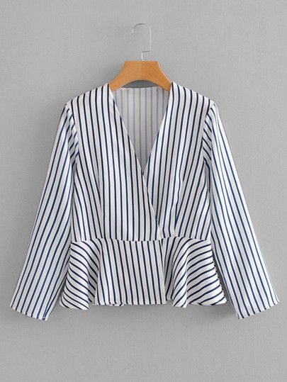Shop Vertical-Striped Pep Hem Coat online. SheIn offers Vertical-Striped  Pep Hem 8532f92069bd3