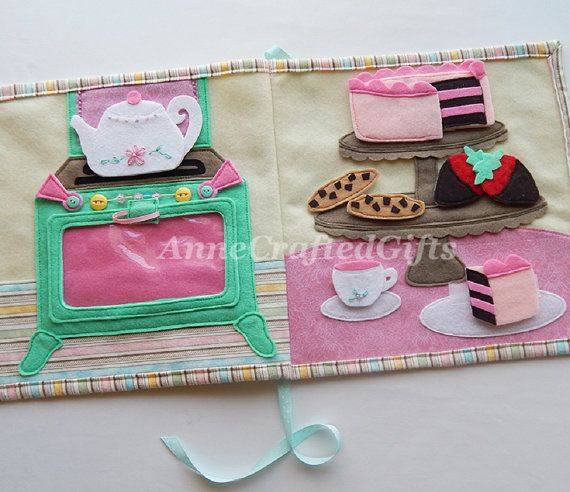Quiet Book Page Tea Party Busy Book Toddler or by AnneCraftedGifts