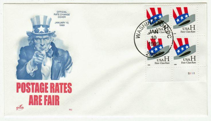 USA Covers # 3260 Block of Four LR - Postal Rates - Uncle Sam's Hat - Washington, DC