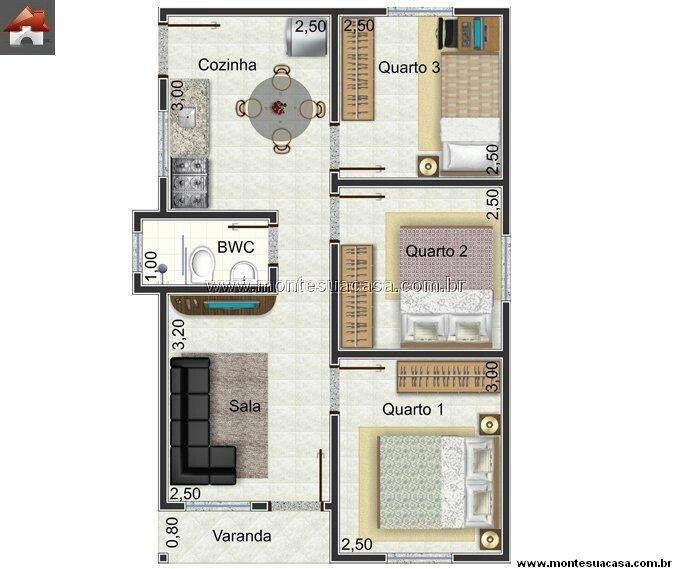Planta casa pequena com 3 quartos sobrados pinterest for Jardins mangueiral planta 3 quartos