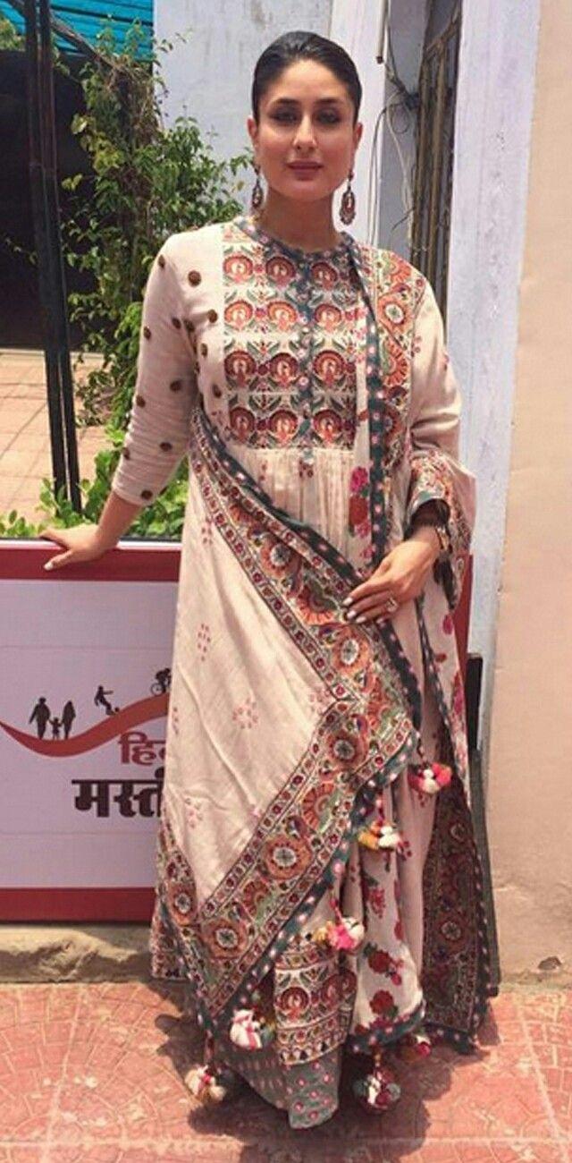 Love the border! kareena kapoor in a summer cool salwar suit