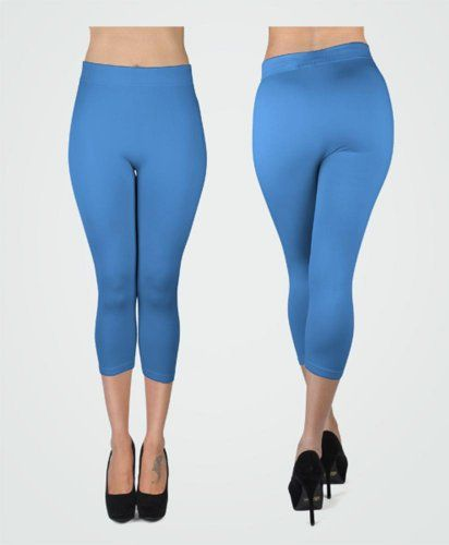 New Women's Turquoise Solid Capri Leggings L0500 « Clothing Impulse