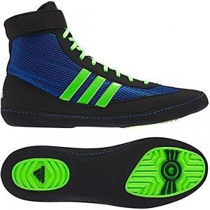 Adidas Combat Speed 4 Boxing Shoes - Black/Blue/Lime Green