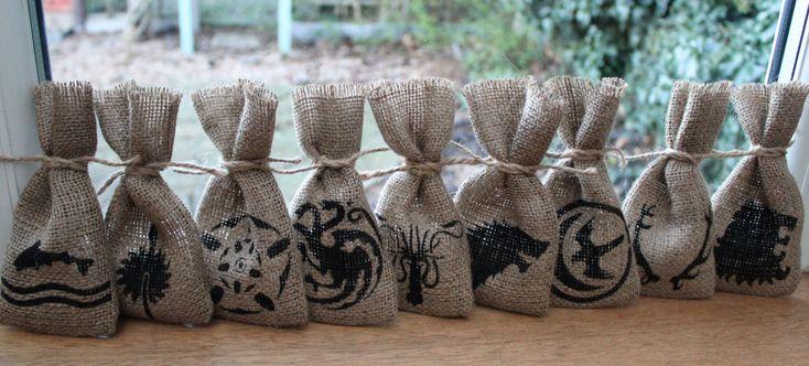 Game of Thrones inspired wedding favour bags. #GoT #GameofThrones #geekwedding #geek