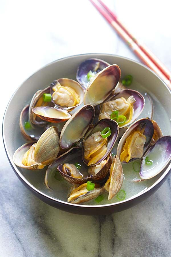 Steamed Clam - steamed Manila (Asari) clams with butter, Japanese sake ...
