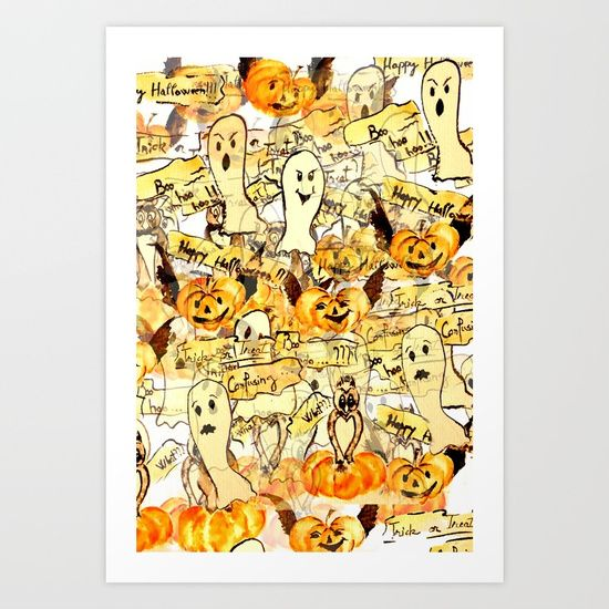 Scared ghost, confused owls and flying pumpkins Art Print