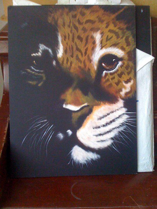 Tigre en pincel seco con Claudia Landini.