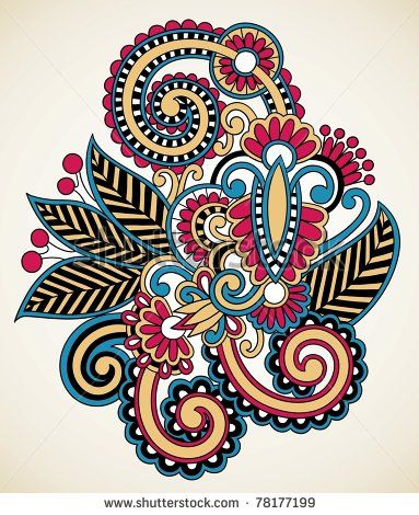 Tatuajes Indias Orientales en Diseño Ornamental Decoración floral de la alheña del tatuaje Stock Vector
