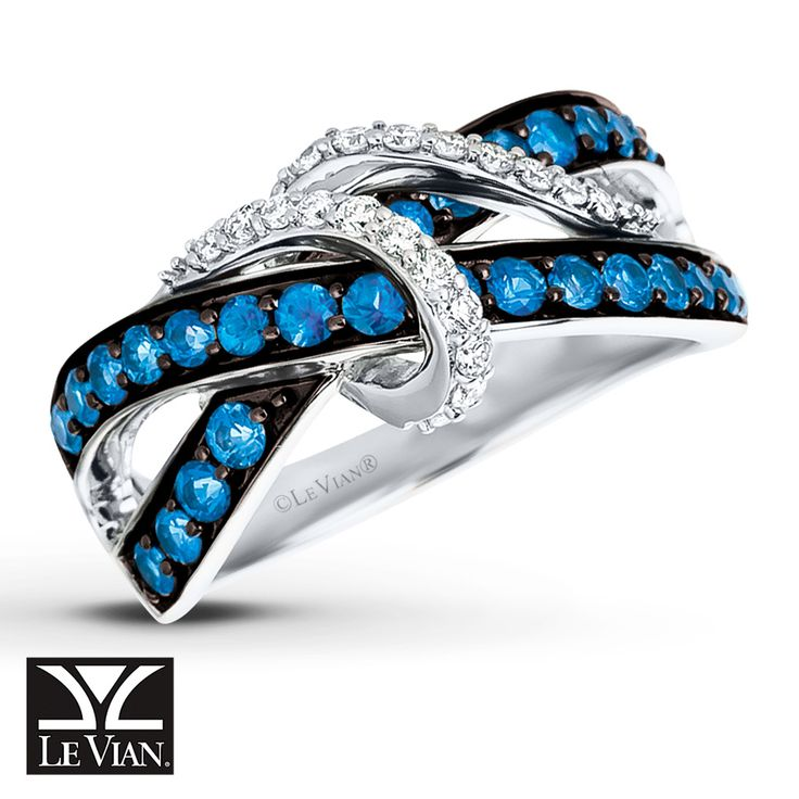 Color and brilliance combine in this stunning ring from Le Vian® with Cornflower Ceylon Sapphire™ rows that cross in the center, accented by sparkling swirls of Vanilla Diamonds®. Crafted of 14K Vanilla Gold®, the ring has a total diamond weight of 1/5 carat. Le Vian®. Discover the Legend. Diamond Total Carat Weight may range from .18 - .22 carats. Sapphire is commonly subjected to enhancement processes or treatments such as h...