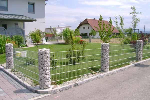 Zaun, Gartenzaun, Gabionen, Rundsäulensystem, Stein, natürlich, Metall, Garten…