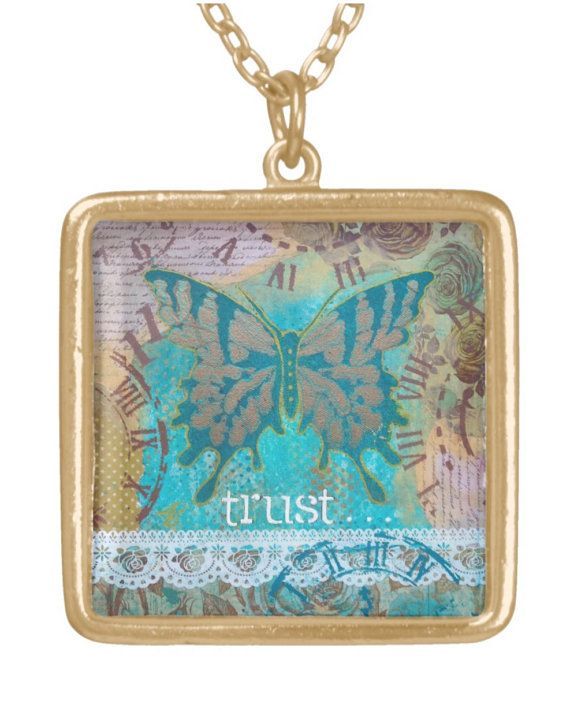 NECKLACE gold plated: 'Trust'  mixed media by MrsButtonsEmporium