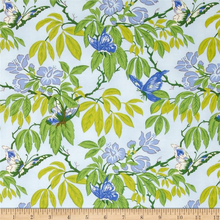 April Cornell Glorious Garden Butterfly Light Blue from @fabricdotcom  Designed by April Cornell for Free Spirit, this fabric is perfect for quilting, apparel and home decor accents. Colors include white and shades of green and blue.