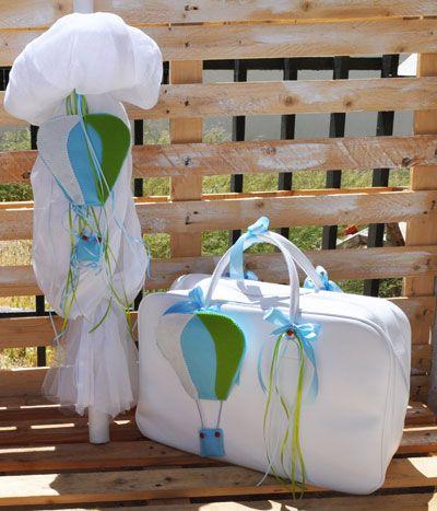 Τσάντα και λαμπάδα βάπτισης με αερόστατο (tl502)
