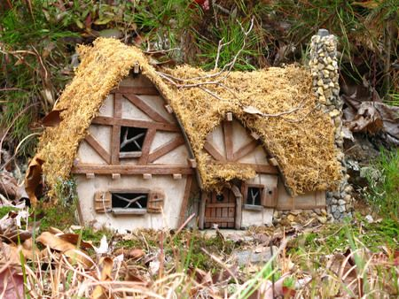 Fairy Cottage - love the thatched roof!