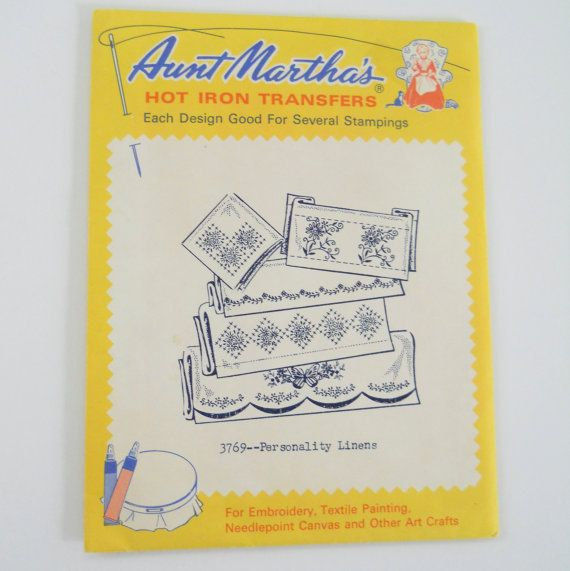 Vintage Iron On Transfers  Embroidery Patterns  Aunt