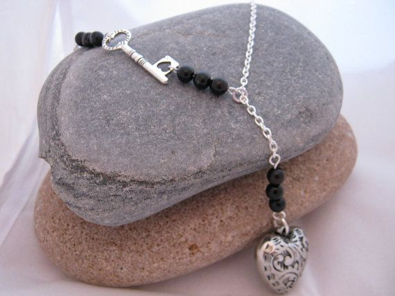 Heart and Key Black Onyx Gemstone Long Y Necklace by AnnethDesigns