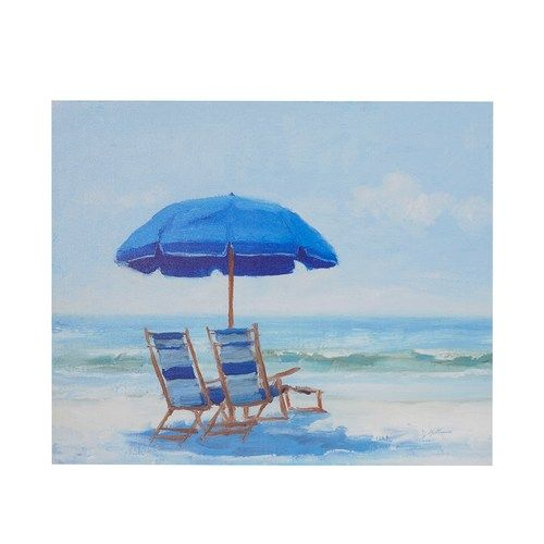 This seaside summer perfect Blue Beach Chairs wall art offers a relaxing beach retreat from your day-to-day stress of every day life!