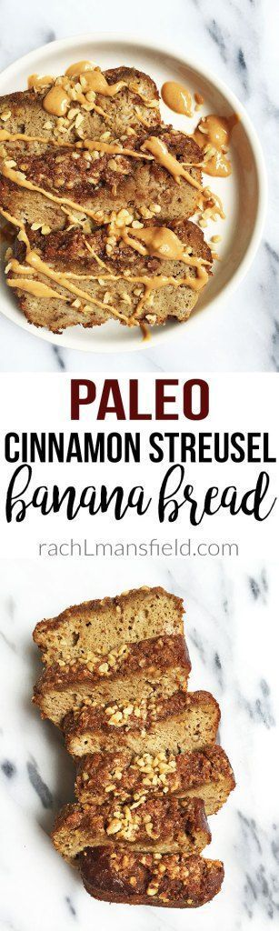 Paleo Cinnamon Streusel Banana Bread made with simple and delicious ingredients. This banana bread is topped with a paleo crumble and is packed with flavor! Grain, gluten & dairy-free!
