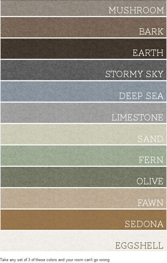 warm home color paint pallet - should cover all parts of the house - upper and lower!