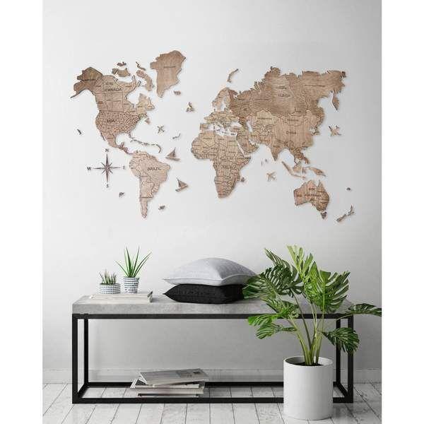 Wooden Wall Hanging Wall Art Decor World Map Color #7 – Encinitas