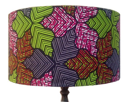 Multi-Coloured Leaves Lampshade, Large 45cm Drum, Blue Green Pink, African wax print, Pendant Ceiling Shade, Floor Lamp shade,
