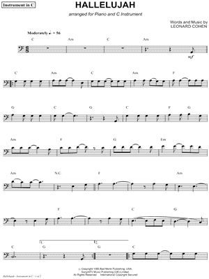 "Leonard Cohen ""Hallelujah - Bass Clef Instrument"" Sheet Music (Cello, Trombone, Bassoon, Baritone Horn or Double Bass) - Download & Print"