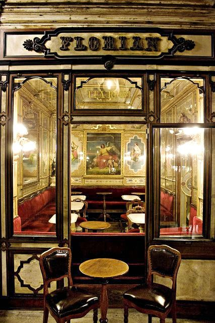 Cafe Florian in Venice Italy. The city's oldest cafe…1645. It is as much a museum as a great spot to sip a cup of coffee and listen to live music. by palegreenstarz on Flickr.