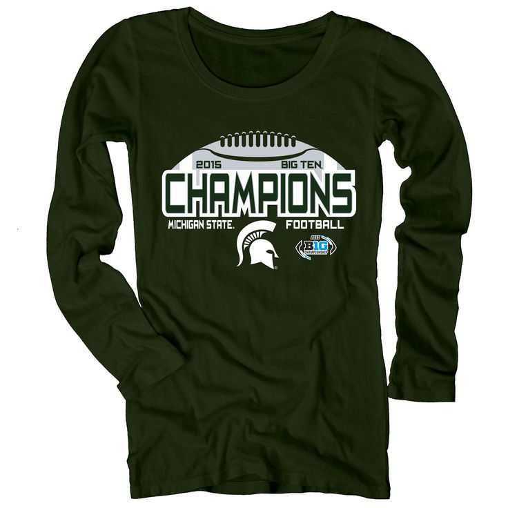 Michigan State Spartans Women's 2015 Big Ten Conference Football Champions Long Sleeve T-Shirt - Green - $21.84