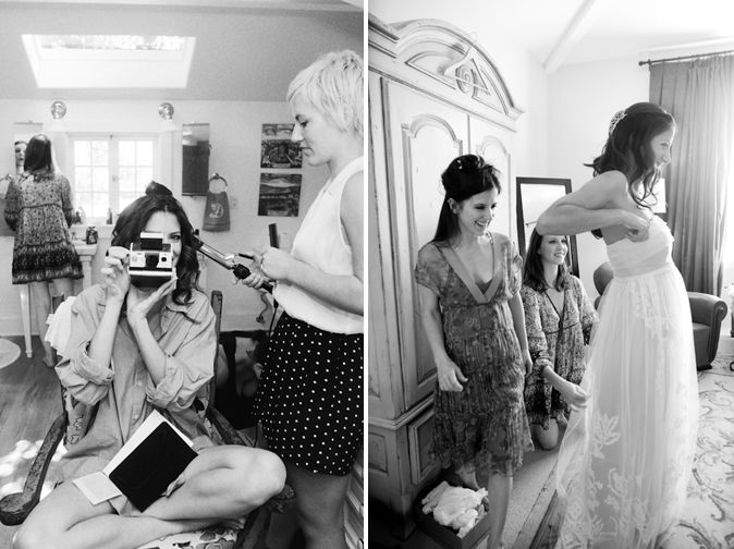 Cute picture of Kate Danson's bridesmaids helping her get ready