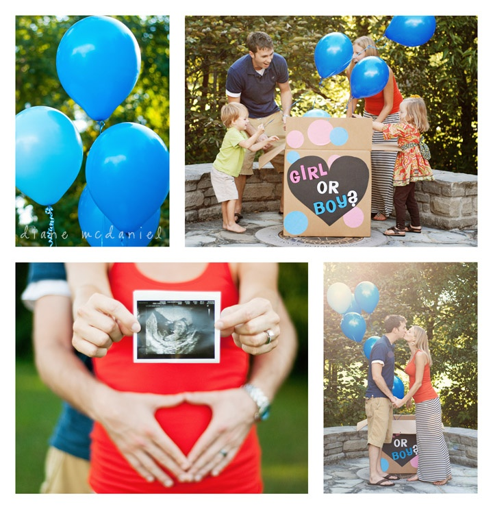 Gender Reveal Photo Session. Love the idea of using the box of balloons for the gender reveal