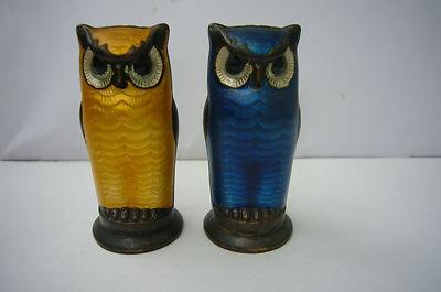 David Andersen Norway Owl Sterling Silver Enamel Salt Pepper Shakers