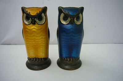 David Andersen Norway Owl Sterling Silver Enamel Salt Pepper Shakers