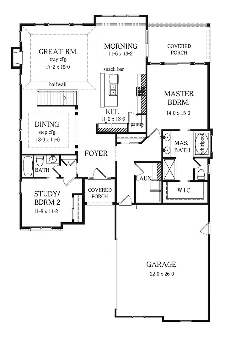 Best 25 2 bedroom house plans ideas on pinterest 2 for Ranch floor plans with basement