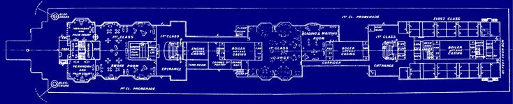 Blueprint of the Titanic's boat deck