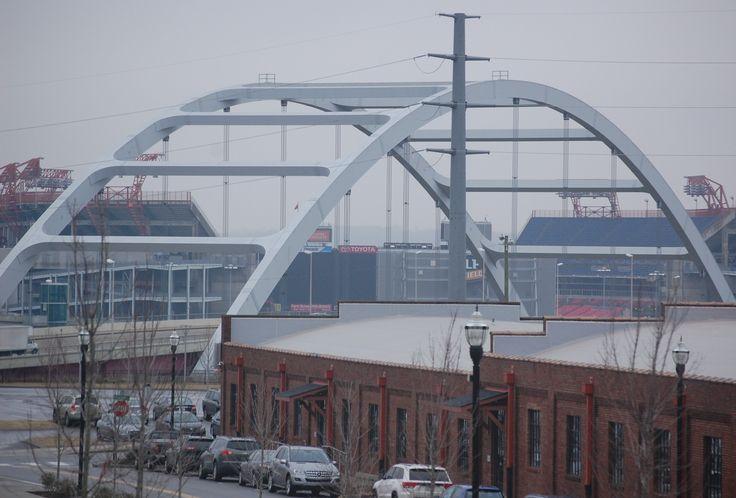 Downtown nashville korean veterans bridge foreground lp