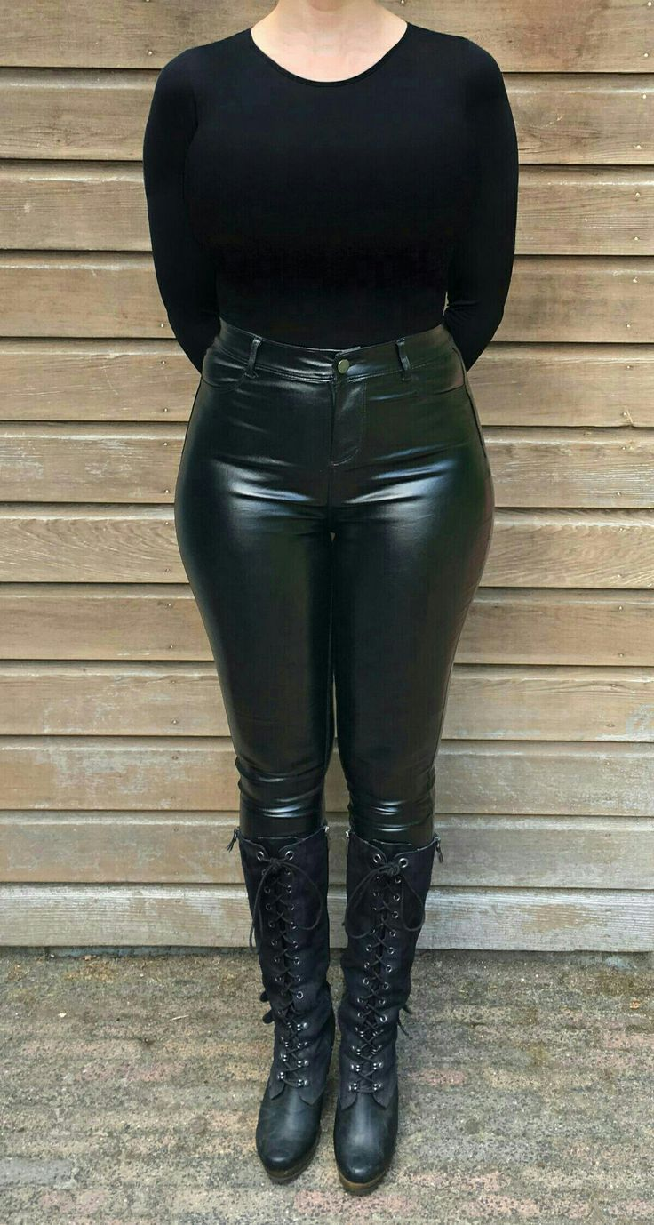 Tight leather pants with lace-up boots. Delicious confection of darkness. The A …