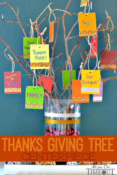 This Thanks Giving Tree Centerpiece  is a lovely, visual way for your family and guests to give thanks this year!   MomOnTimeout.com #sponso...