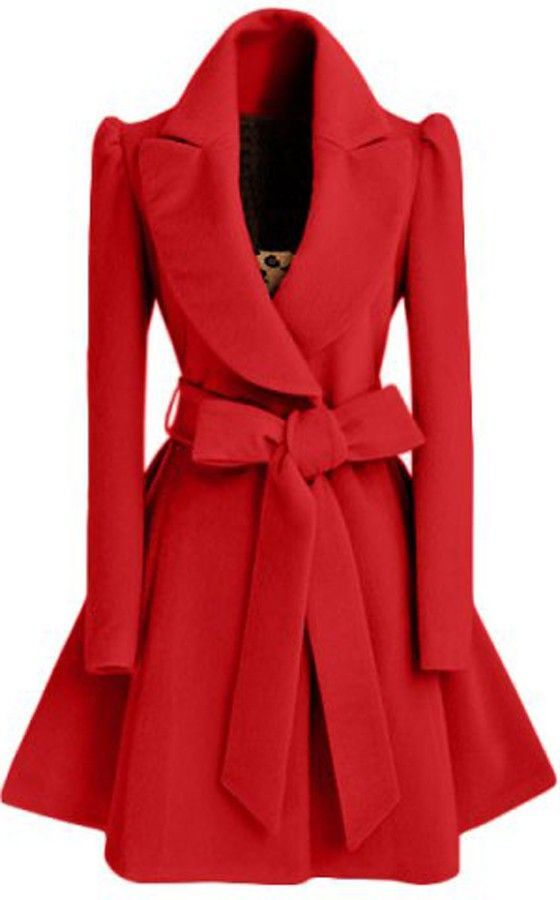 Red Plain Bow Single Breasted Fashion Wool Coat