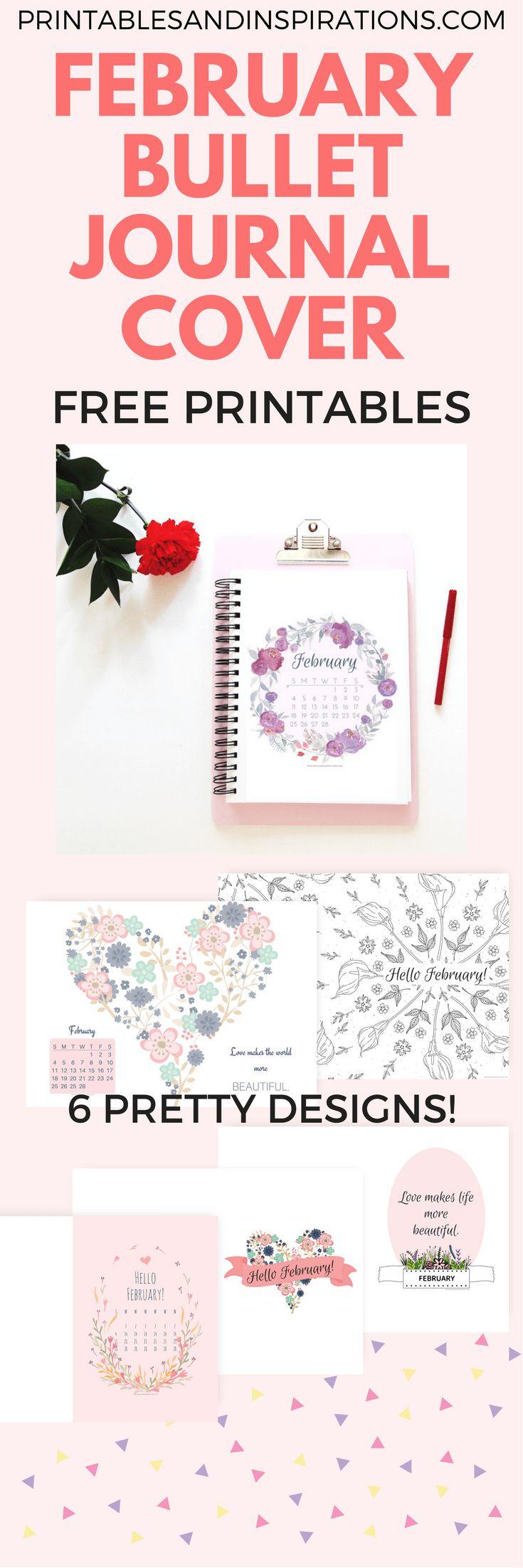 free printable February bullet journal cover page, bullet journal ideas, printable planner, February calendar